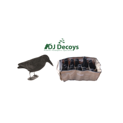 10 Flocked Crow Decoys & 10 Slotted Decoy Bag